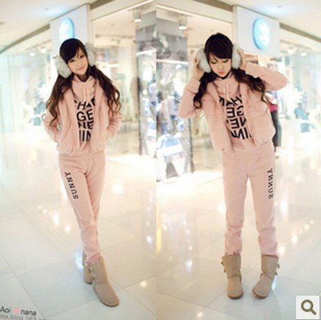 2012 fashion hoodies sets women girl sports thick hoodie suit,womens sweatshirts set (hoody,pants,vest)  6 colors to choose