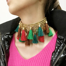 MANILAI Bohemia Multicolor Tassel Choker Necklaces Women Statement Jewelry Chunky Golden Chain Collar Maxi Necklaces & Pendants