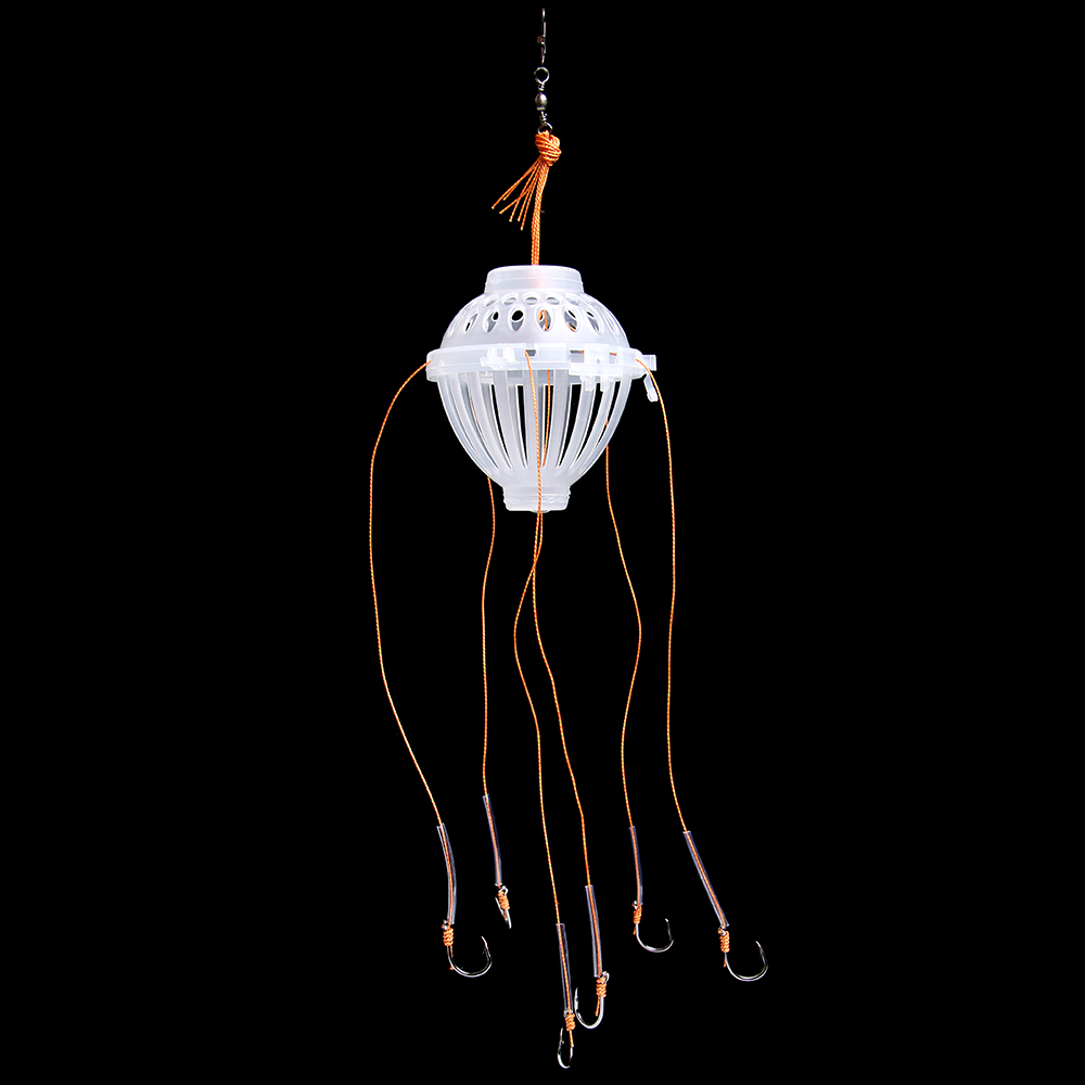 FISH KING 1PC Small Trap Basket Feeder Holder Plastic Wire With Connecting Ring PE Line 6 Hooks Fishing Lure Cage