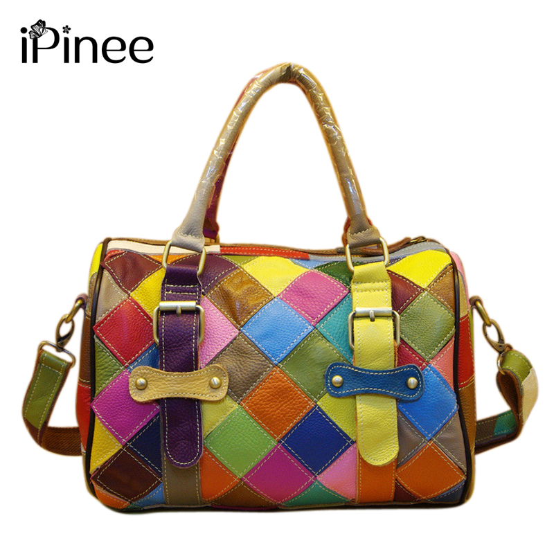 iPinee Fashion Women Cowhide Leather Bags Designer Genuine Leather Handbags High Quality Women Messenger Bags Free Shipping chispaulo women bags brand 2017 designer handbags high quality cowhide women s genuine leather handbags women messenger bag t235