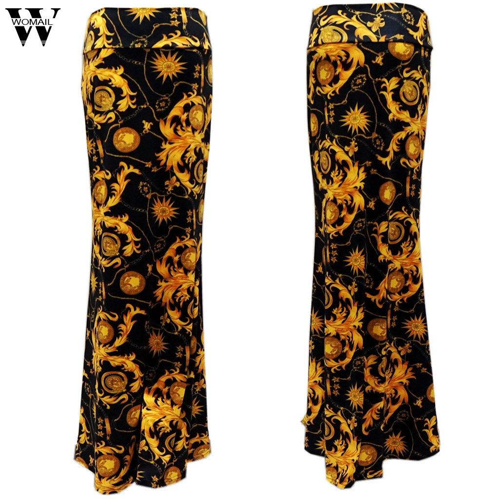 Womail Skirt Women Summer Ladies Skirt Print Lightweight Maxi Skirt Party Casual Beach NEW Fashion High Quality 2019 A24