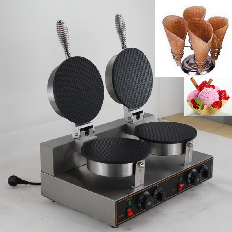 Double Head Ice Cream Cone Waffle Making Machine ice cream cone baking machine ice cream cone maker free shiping fried ice cream machine 75 35cm big pan with 5 buckets fried ice machine r22 ice pan machine ice cream machine