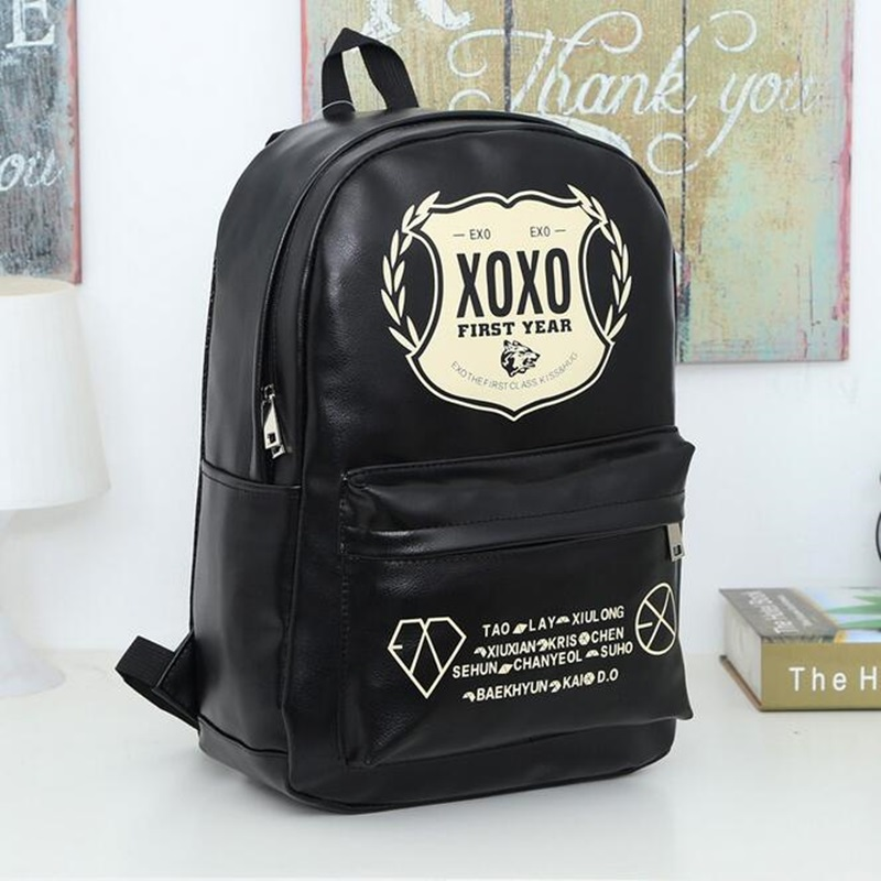 Unisex Leather EXO Backpack School Bags For Teenagers Girls Boys Preppy Style Travel Shoulder Bags Student Bookbag Backpacks roblox game casual backpack for teenagers kids boys children student school bags travel shoulder bag unisex laptop bags