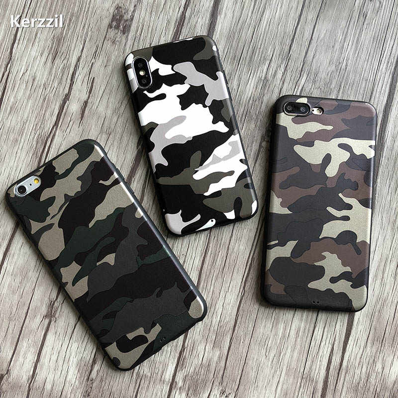 Fashion Navy Army Camo PU Leather Case For iPhone 11 Pro X XR XS Max Soft TPU Cover For iPhone 7 8 6 6s Plus Back Coque Fundas