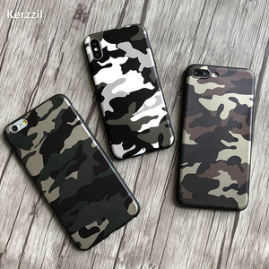 Fashion Navy Army Camo PU Leather Case For iPhone 11 Pro X XR XS Max Soft TPU Cover For iPhone 7 8 6 6s Plus Back Coque Fundas(China)