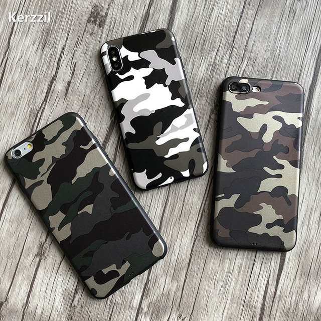 Kerzzil Fashion Navy Army Camo PU Leather Case For iPhone X XR XS Max Soft TPU Cover For iPhone 7 8 6 6s Plus Back Fundas