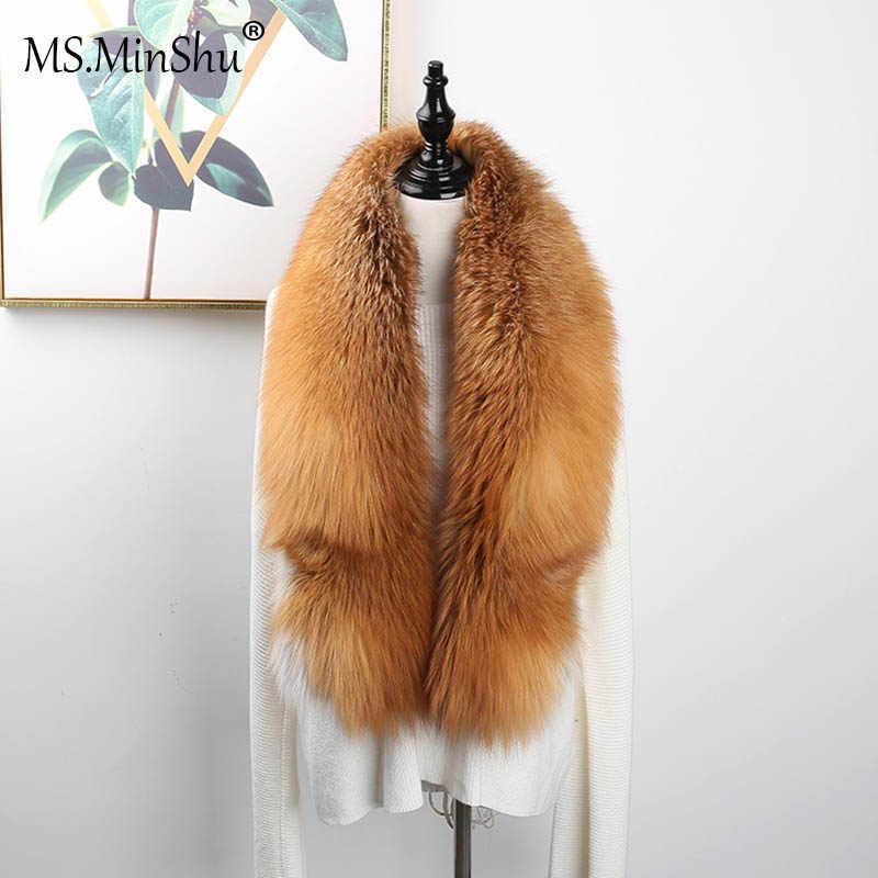 Ms. minshu Mewah Asli Fox Bulu Syal Fox Nyata Kulit Syal Ukuran Besar Alami Fox Bulu Selendang Musim Dingin Wanita Mencuri Gratis pengiriman