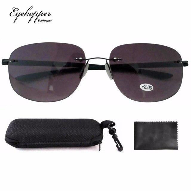 ddf966394fa SR14001 Gray New Lightweight Readers Rimless Bifocal Sunglasses  W case+1.00 +1.25 +1.75 +2.25