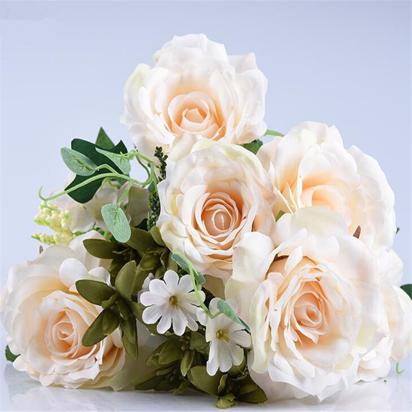 Us 11 22 45 Off 2pcs Rose Flower Bunches 11 Stems Per Piece Artificial Rose Bouquets For Wedding Centerpieces Table Decorations 3 Colors In