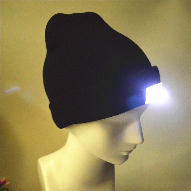 Glowing Wool Hat With 5pcs LED Light Autumn Winter Black Skullies Women  Black Knitted Beanies Outdoor 3f2fe724951