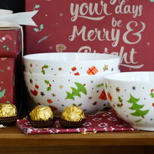 1152ml merry christmas box gift ceramic 6 inch bowls on glazed high quality beyond 45% bone China soup noodles food container