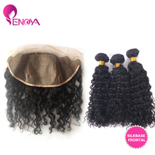 Free Shipping 3 Bundles Brazilian Deep curly Virgin Hair with 13″X4″ Silk Base Lace Frontal Closure With Baby Hair