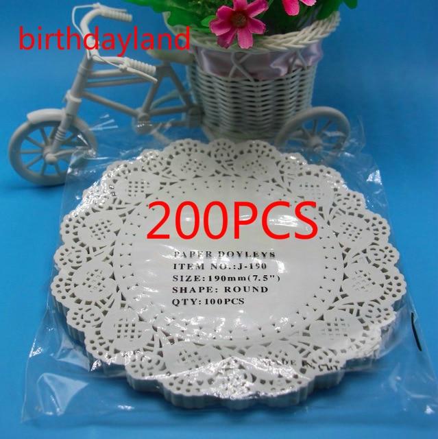 200pcs 7.5inch 19cm Vintage napkin Hollowed Lace Paper mat Crafts paper doilies for Wedding Decoration