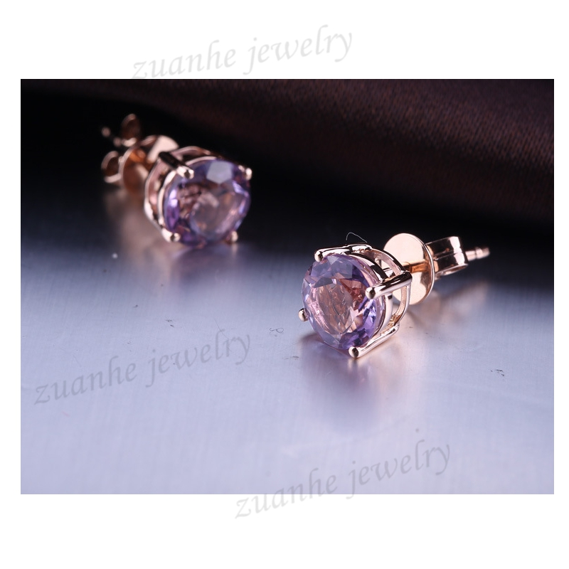 6mm Round Cut 100% Natural Amethyst solid 14k rose gold earrings for women Engagement Wedding Fashion Party Fine Jewelry jewlery sets vintage solid 14k white gold green amethyst diamond earrings for women fine amethyst jewelry