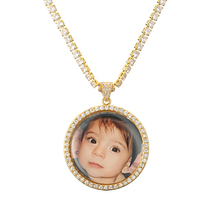 Personalized Baby Photo Necklace Pendant Gift For Women Mom Custom Any Picture With Cubic Zircon Tennis Chains Dropship