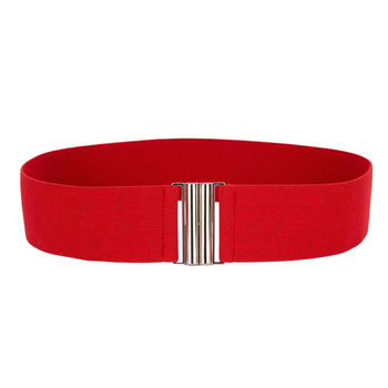 Silver Buckle Wide Stretch Belt 1