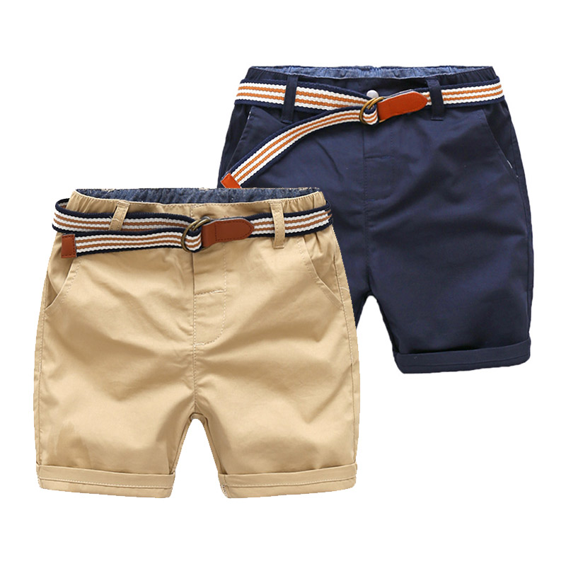 2019 Summer Casual 3-8 10 12 Years Children'S Kids Cotton Navy Blue Khaki Solid Color Sports Handsome Baby Boy   Shorts   With Belt