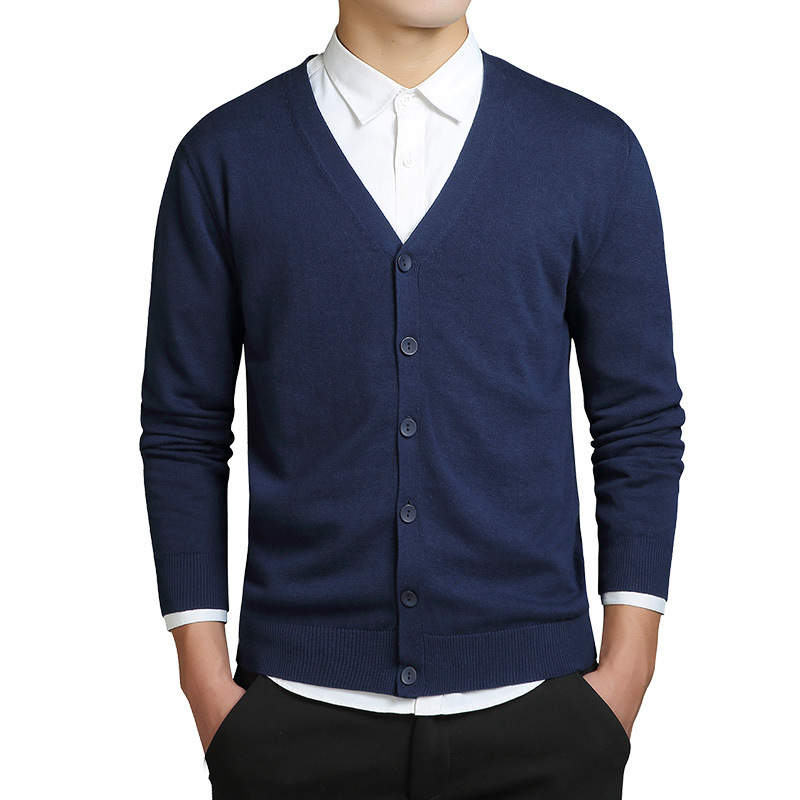 2019 Men's Fashion Boutique Pure Color Cotton Cardigan V-neck Formal Social Business Knitting A Sweater Male Sweater