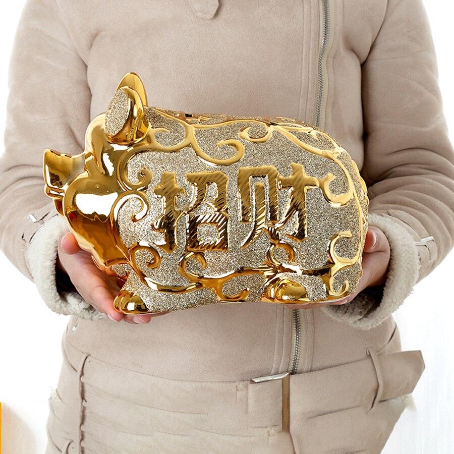 Grand cochon tirelire coffre-fort caché créatif tirelire en céramique cadeau économie d'argent Hucha Infantil cochon banque de pièces M5B008