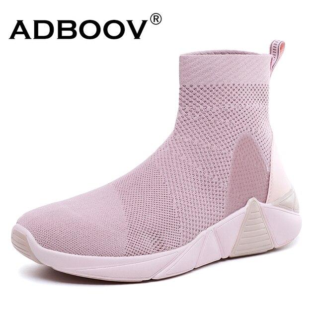ADBOOV Neue Atmungs Stiefeletten Frauen Sommer Turnschuhe Flache Plattform Schuhe Frau Socke Schuhe