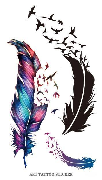 2pcs Body Art FeathersTemporary Tattoo Body Art Stickers Removable Sex Products Sticker The Wind Blown