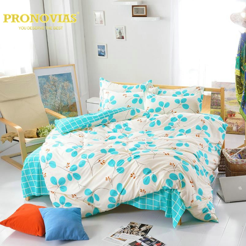 2016 linen fashion leaves bedding set of queen full twin size duvet/doona cover bed sheet pillow cases 3/4pcs kit/turquoise