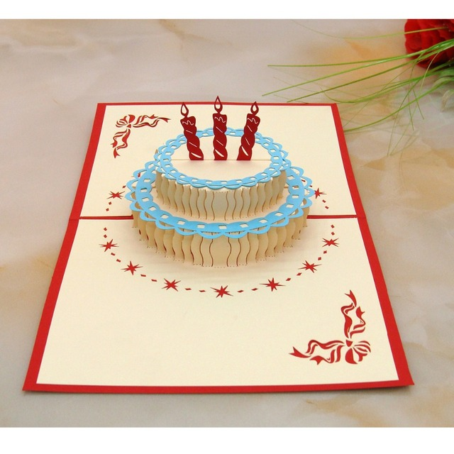Birthday Cake Greeting Card 3D Lovers Gift Full Of New Ideas Not The Same DIY Envelope Personality Non Mainstream Free Shipping