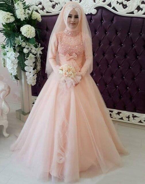 Cosplay Novia 2015 Unik Gaun Pengantin Muslim Dengan Lengan Panjang