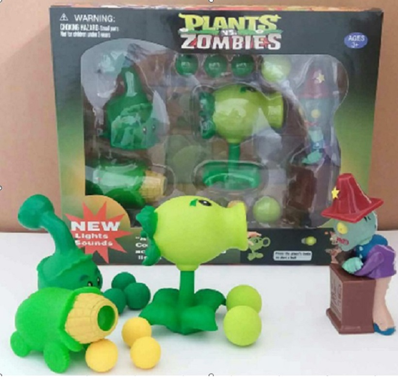 Hot Plants VS Zombies PVZ Figure Toys Coconut +Agriculture Gun Zombies Action Figures Toy Dolls With Light & Sounds Great Gift new hot 18cm one piece donquixote doflamingo action figure toys doll collection christmas gift with box minge3