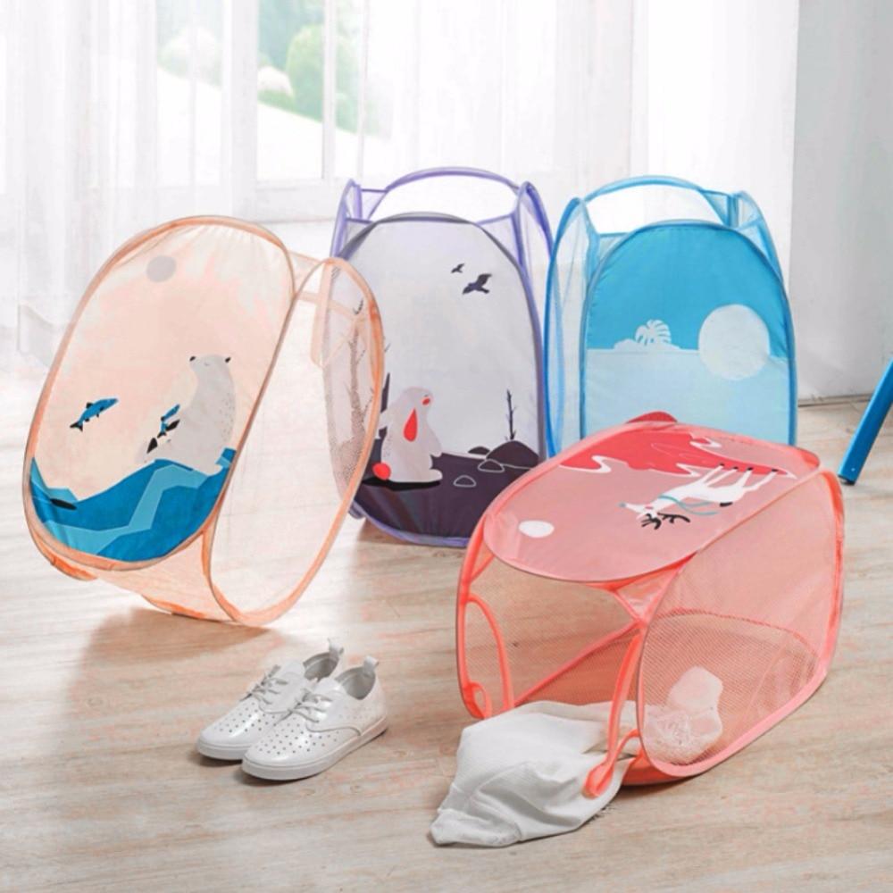 Mesh Laundry Hamper Foldable Dirty Clothes Storage Basket Childrens Toys Shoes Sundries Organizer Storage Hamper Wholesale