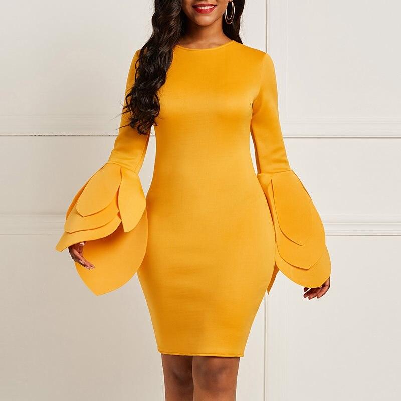 Женская новая мода винтажное облегающее платье рукав-лепесток элегантное вечернее весеннее желтое простое с длинным рукавом Женские сексу...
