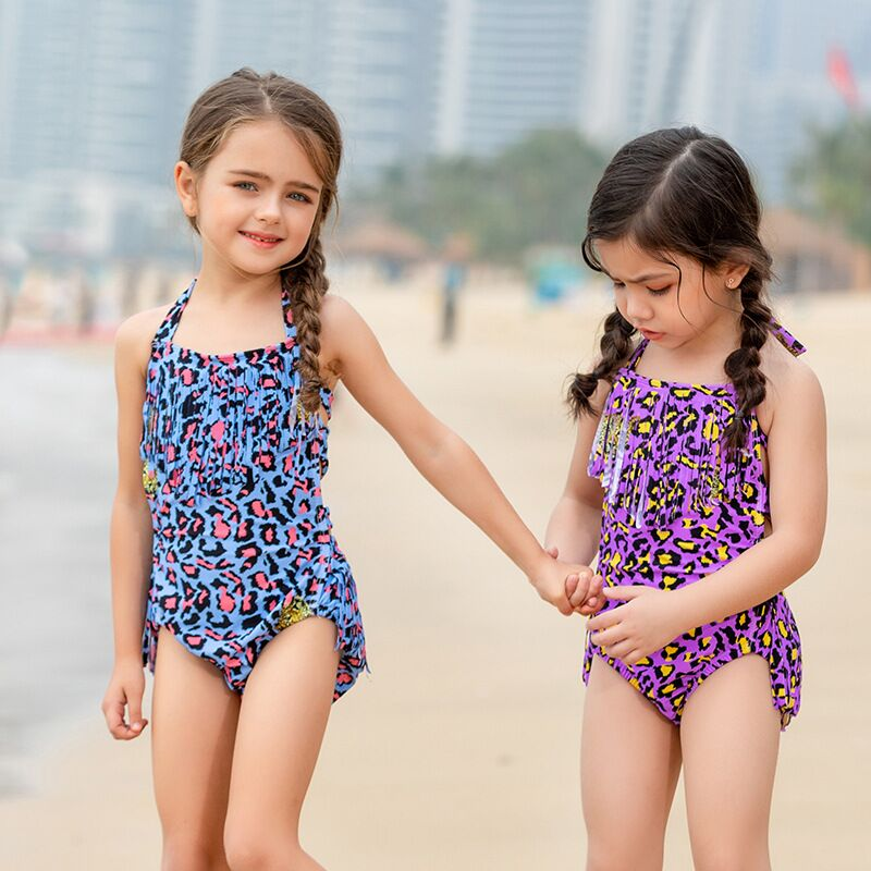 Babies-children-s-lovely-swimsuit-with-fringe-Leopard-Print-One-Piece-Baby-Girl-Swimwear-Vacation-Wear - 副本