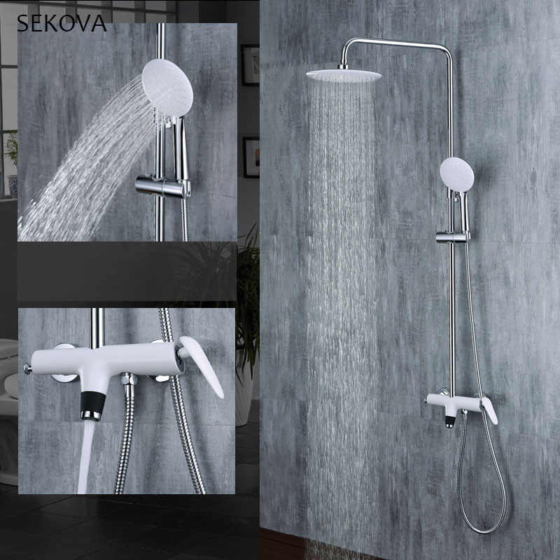 Bad Weiß Messing Farbe Regen Dusche Wasserhahn Set Regen Dusche Kopf Handheld Sprayer Kalten Und Heißer Mischbatterie Wand Montiert
