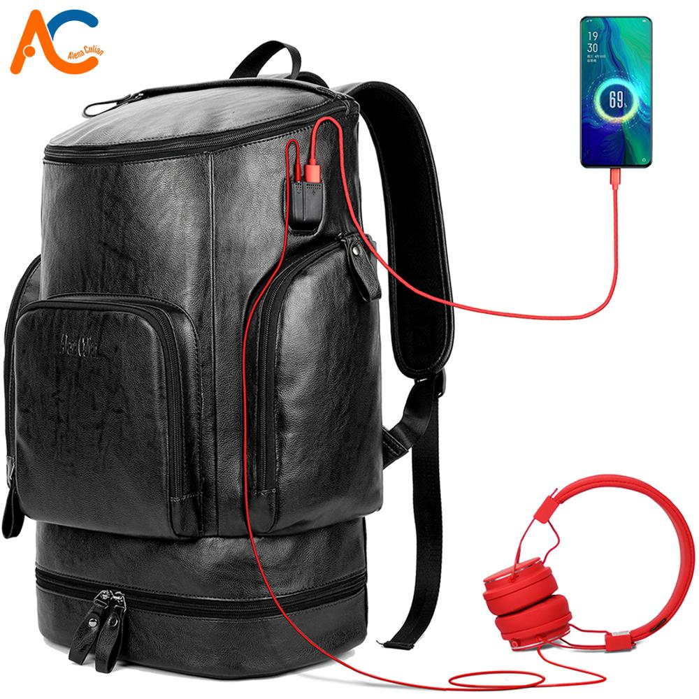 Alena Culian Anti theft Coded Lock Backpack For Men Leather Travel USB Backpack High Capacity Bucket