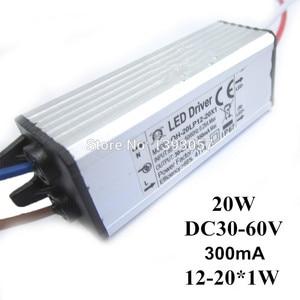 5pcs/lot 20W DC30-68V Watperproof LED Driver 12-20x1W 300mA IP67 Constant Current Aluminum LED Power Supply