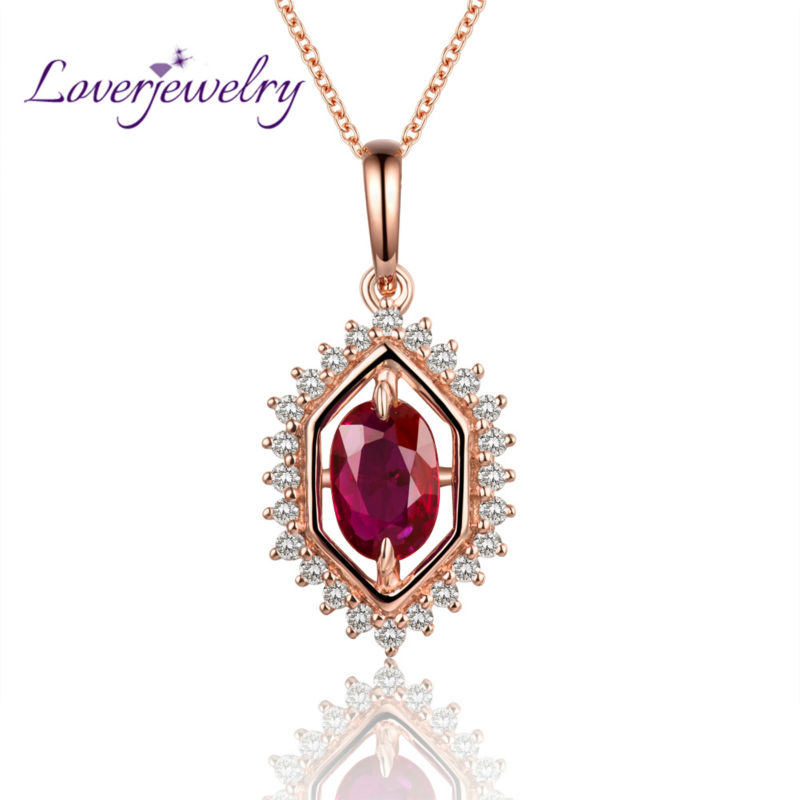 Royal Pendant In Solid 18Kt Rose Gold Ruby Wedding Pendant Natural Diamond Jewelry for Wife WP060 18 k gold natural ruby jewelry set