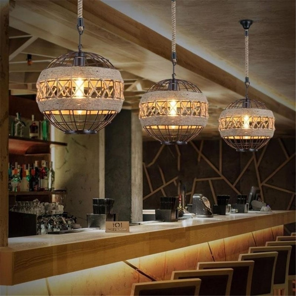 E27 LED Light Retro Rope Industrial Wind Chandelier For Internet Cafe Restaurant Cafe Bar Ball Personalized Lamp vintage industrial wind cafe internet cafe restaurant nordic individuality clothing shop window bar deck chandelier
