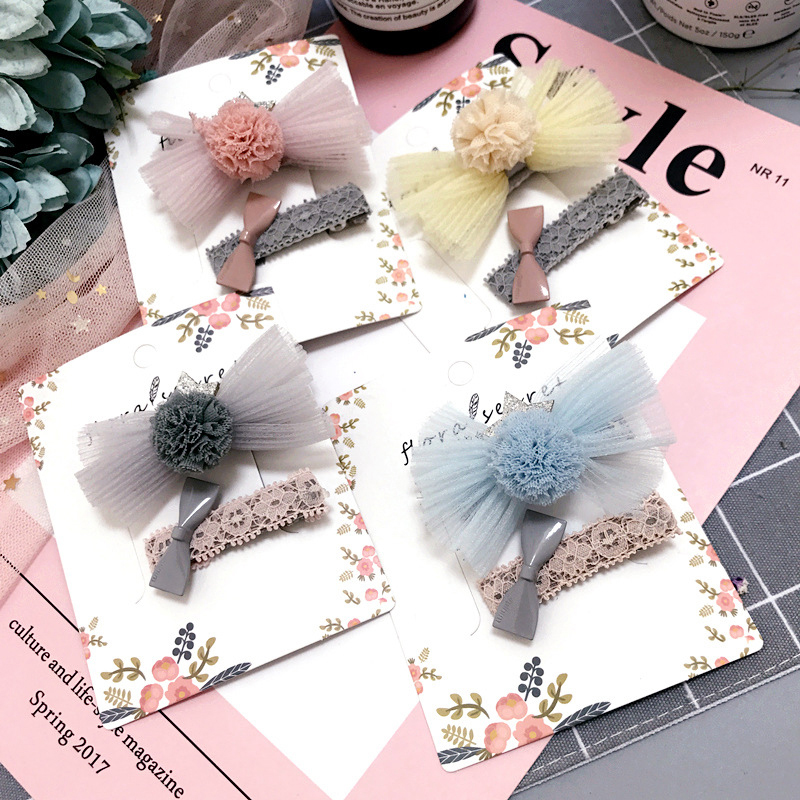 2pcs/set New Princess Yarn Bow Cloth Hair Clips Girls Flower Crown Hairpin Hair Ornaments Fashion Hair Accessories for Women
