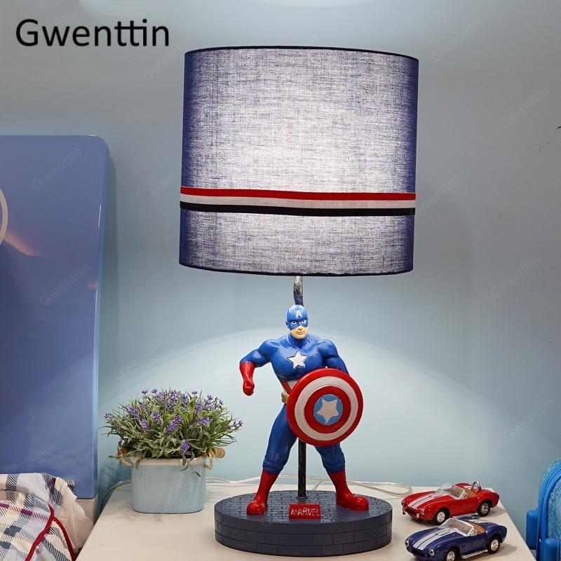 Captain America Children s Table Lamps Modern Cartoon Desk light fixtures for Boy bedroom Bedside lamp