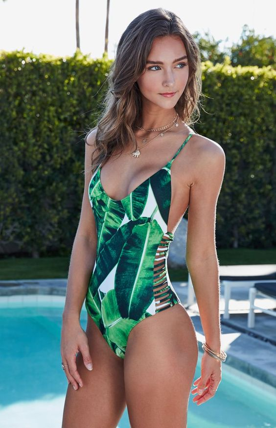 new 2017 Green Leaves High Cut One Piece Swimsuit Women String Bandage  Swimwear Female Bodysuit Beachwear Bathing Suit Monokini-in Body Suits from  Sports ... 314a217b8