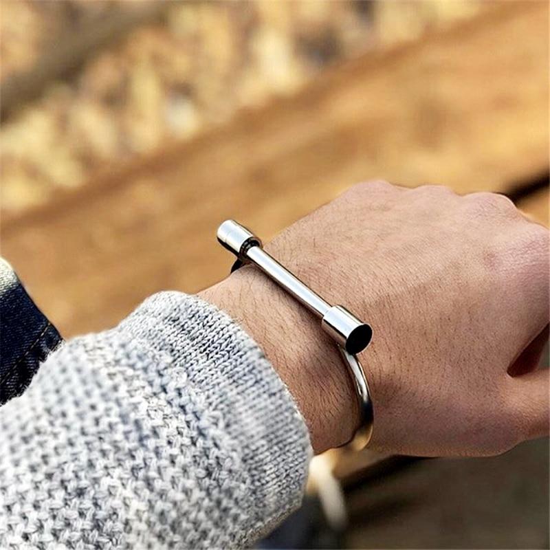 Mcllroy Cuff Bracelet Mens Stainless Steel Jewelry for Men Women Lover Bracelets Accessoires Homme Punk Cool Letter D Bangles