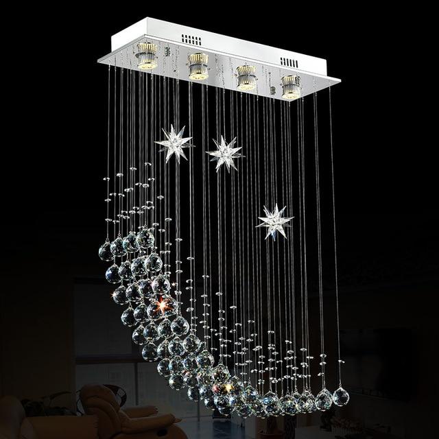 US $186.9 |Foyer schlafzimmer wohnzimmer esszimmer kristall LED licht lampe  vintage halben mond längliche rechteckige kristall kronleuchter licht ...