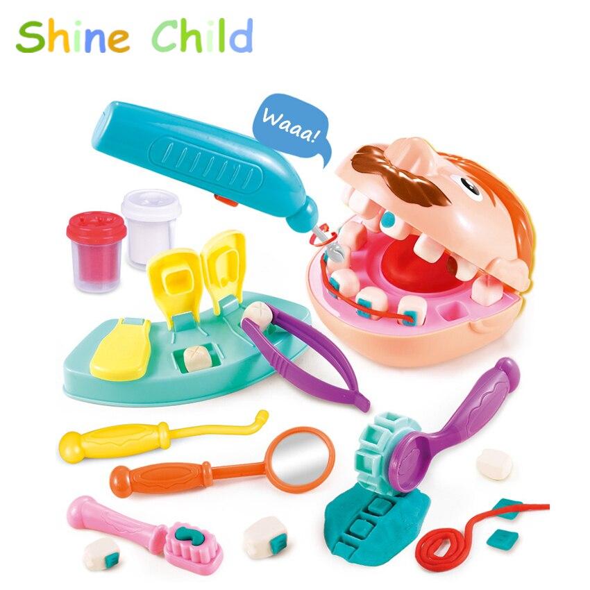 Doctor niños dentista Color Mud Set finja dientes juguete niños creativo playmasa molde dentista Kit Kindergarten Escuela Educación