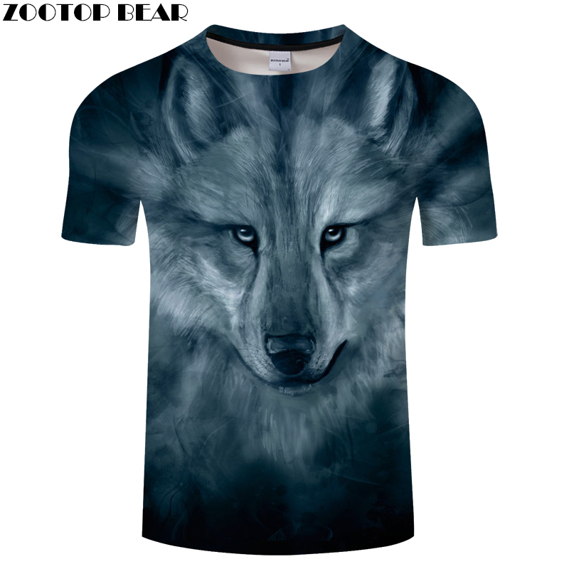 Wolf 3D T shirts Men Animal T-shirts Funny Printed Tops Tees Summer Funny T shirts Camisetas Hombre Hot Sale Male ZOOTOP BEAR