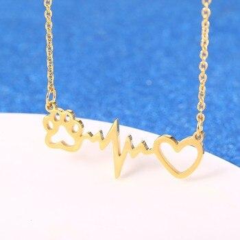 Pet Paw Heartbeat Necklace