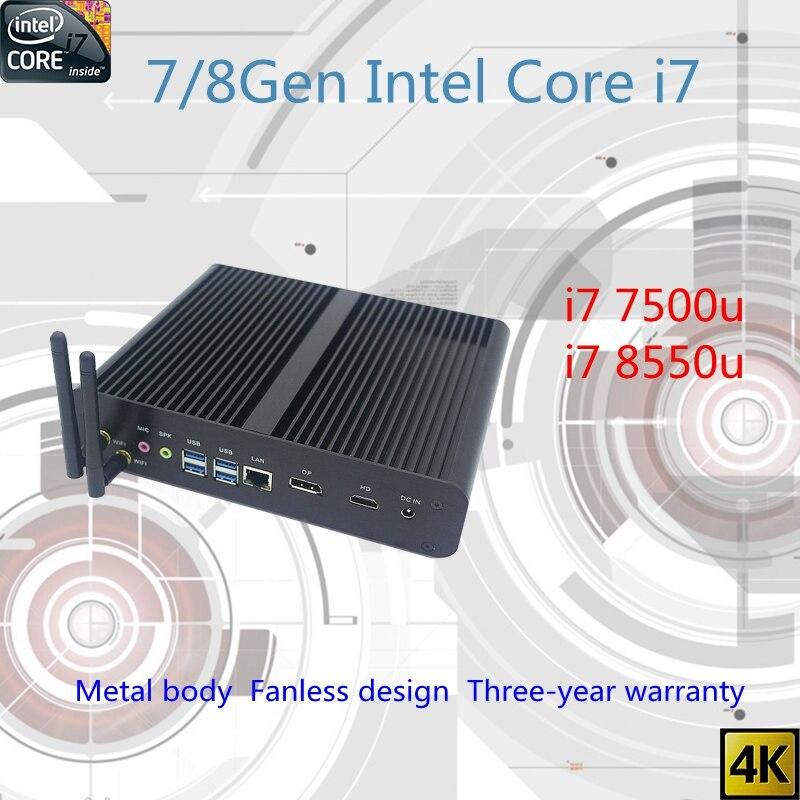 Новые Kaby Lake R 8Gen безвентиляторный мини-ПК i7 7500u i7 8550u Intel UHD620 win10 NUC Freeshipping ПК