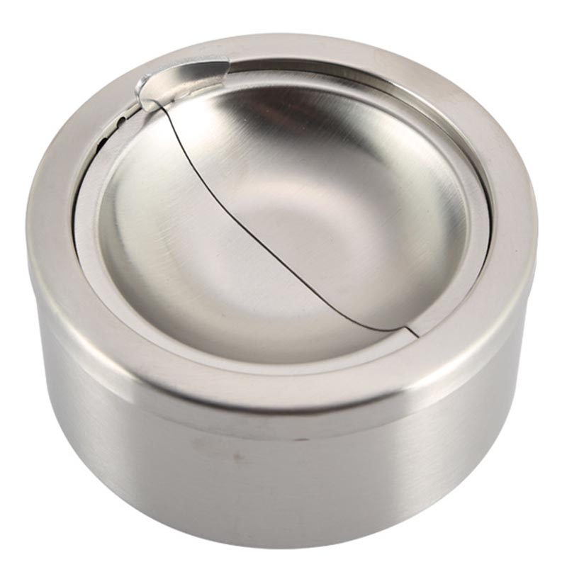Mayitr Stainless Steel Cigarette Ashtray Ash Storage Case Gifts Windproof Ashtray with Lid Round Cigar Smoking Accessory Silver