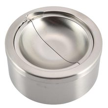 Mayitr Stainless Steel Cigarette Ashtray Ash Storage Case Gifts Windproof Ashtray with Lid Round Cigar Smoking Accessory Silver(China)
