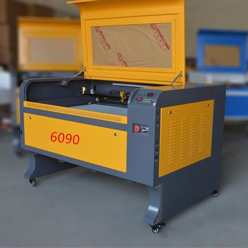 80 w di trasporto libero 6090 co2 macchina incisore laser acrilico macchina di taglio incisione laser di cristallo di vetro di legno in pelle CO2 laser