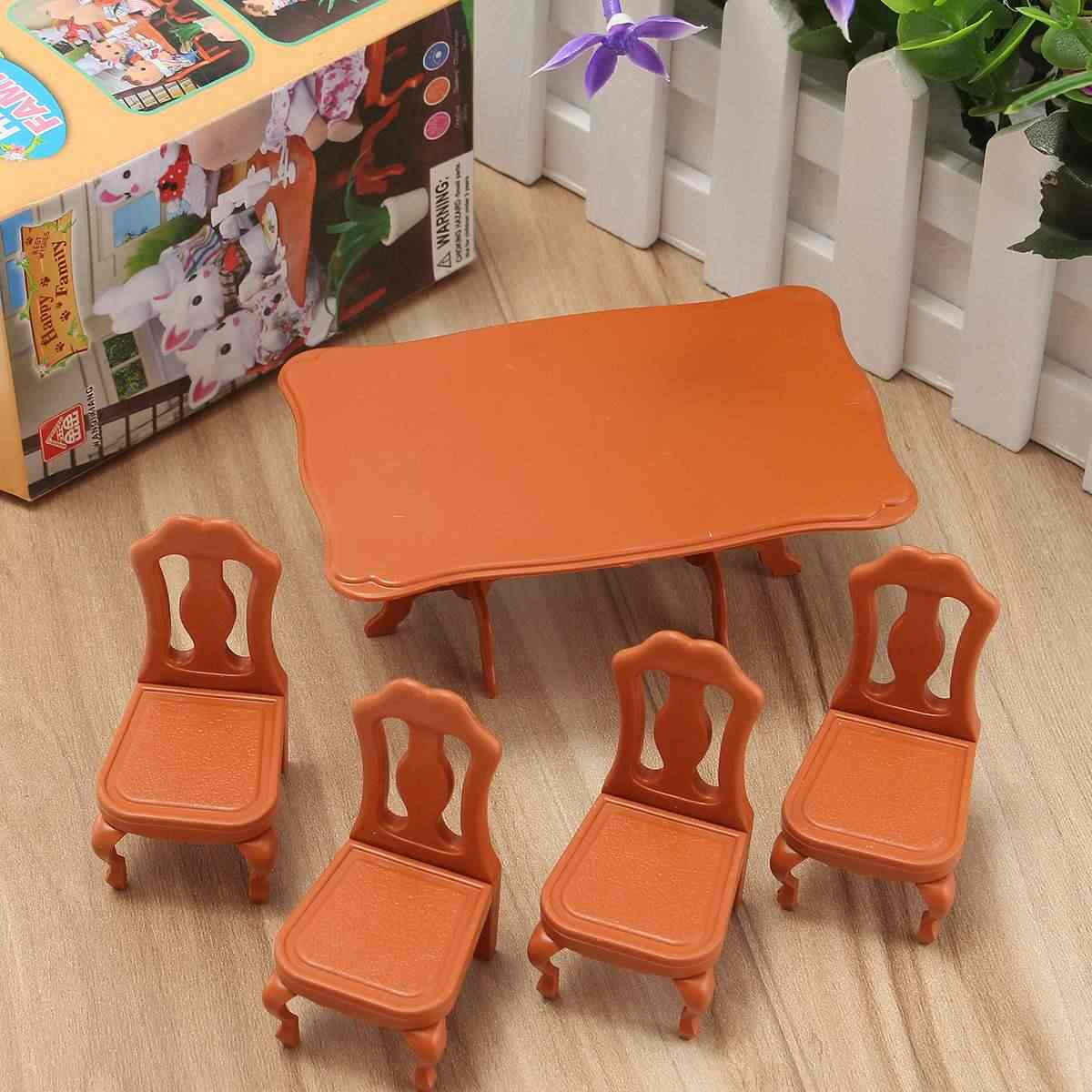 DIY Lovely Mini Furniture Dolls House Miniature Dining Table Chair Set Children Kids Gift Toys Dolls House Accessories Kits